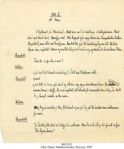 Bjornson Annotated 'Medmenneske' Draft   MS 2113