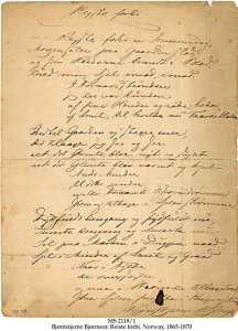 Bjornson Handwritten Signed Poem | MS 2118/1