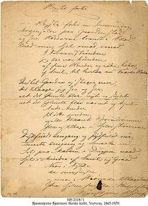Bjornson Handwritten Signed Poem | MS 2118/1