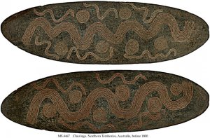 CHURINGA: WAVY PARALLEL LINES LINKING CONCENTRIC CIRCLES REPRESENTING WATERHOLES | MS 4467