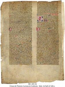 Cinus de Pistorio: Codicem | MS 209/04
