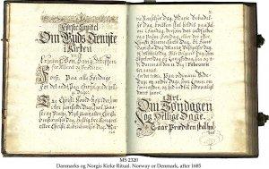 Dansh or Norwegian Church Ritual   MS 2320