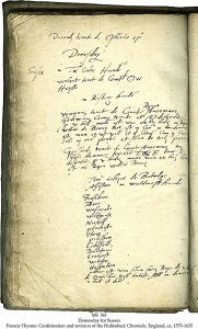 FRANCIS THYNNE: CONFIRMATION AND REVISION OF THE HOLINSHED: CHRONICLE   MS 561