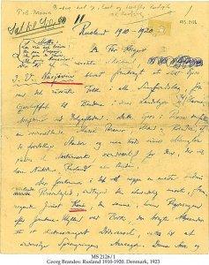 Georg Brandes Unpublished Drafts | MS 2126/1