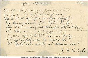 Hans Christian Andersen Poem   MS 2528