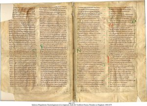 Isidous Hispalensis: Etymologiarum Sive Originum, Book 20, with list of chapters.
