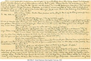 Knut Hamsum Handwritten Chapter Draft & Letter | MS 2526/3