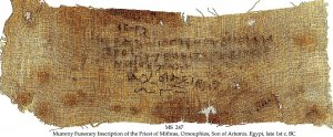 MUMMY FUNERARY INSCRIPTION OF THE PRIEST OF MITHRAS | MS 247
