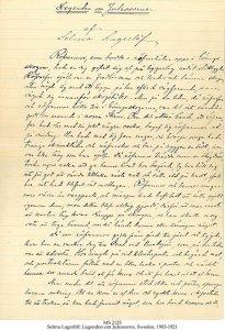 Selma Lagerloef Legend & Autobiography   MS 2125