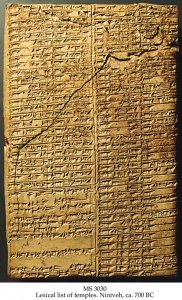 List of Temples (Niniveh) | MS 3030